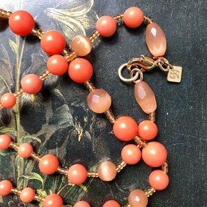 Orange and Coral Stone Beaded Necklace
